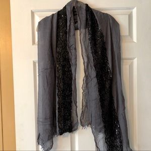 Grey Gauze Scarf with Black Sequins